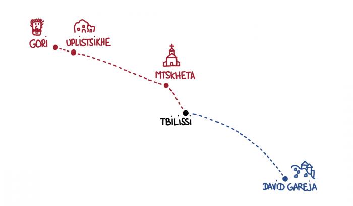 Dessin : carte de nos expéditions de Tbilissi vers David Gareja, Gori et Mtskheta