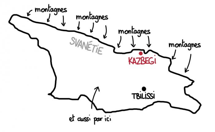 Carte de Kazbegi en Géorgie