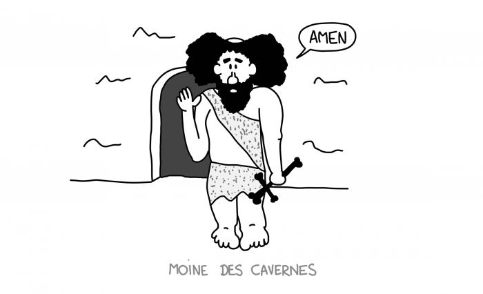 Dessin : moine des cavernes