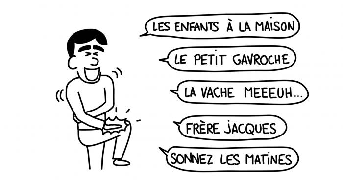 Dessin : mots de français appris à l'école par un Géorgien