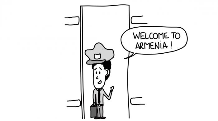 Dessin : douanier arménien qui nous souhaite la bienvenue dans le train