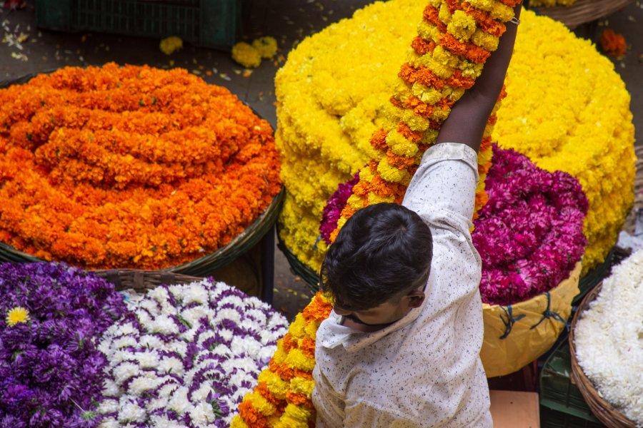 Marché aux fleurs à Bangalore, Inde
