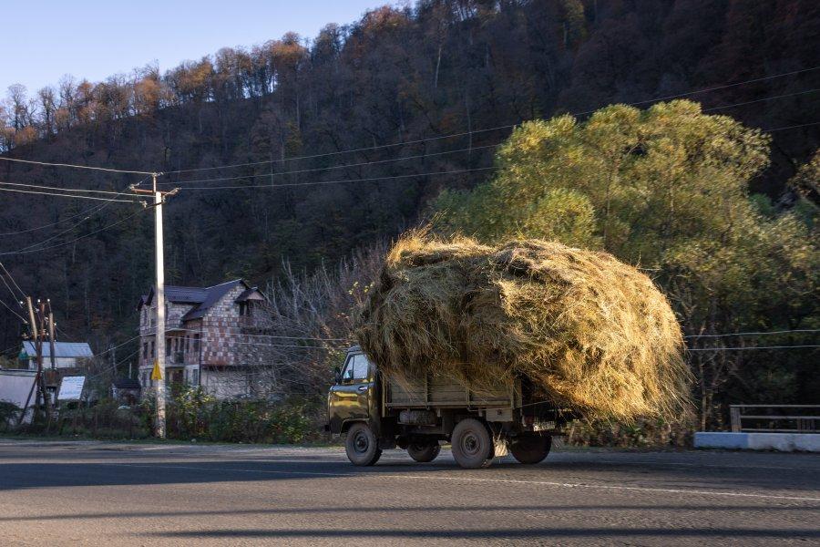 Camion rempli de foin à Dilijan en Arménie