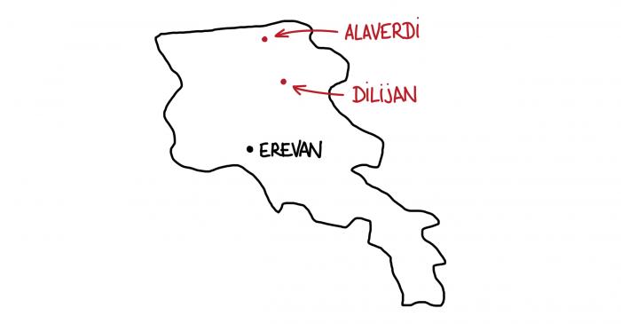 Carte dilijan Alaverdi Arménie