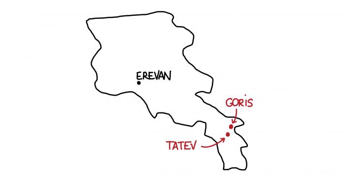Carte de Goris et Tatev en Arménie