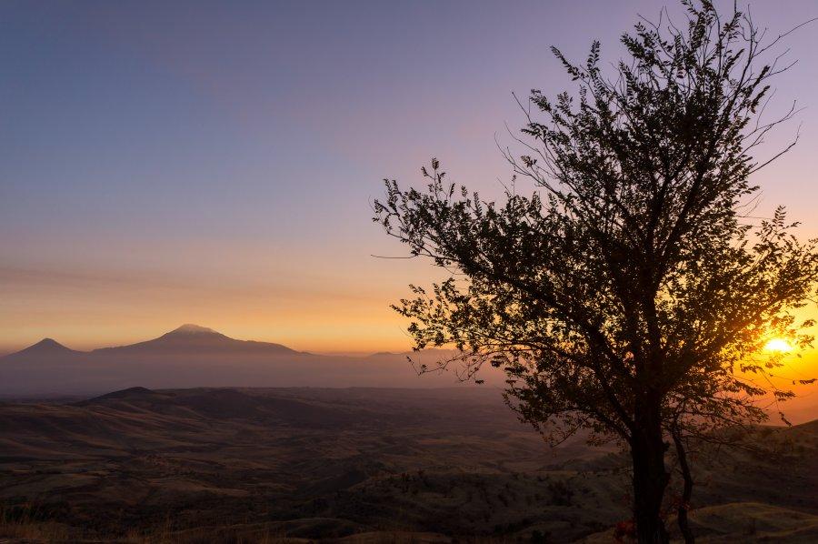 Coucher de soleil sur le Mont Ararat, Arménie
