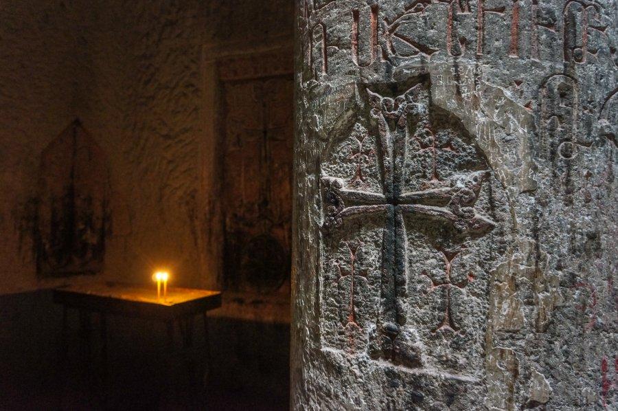 Intérieur du monastère de Geghard, Arménie