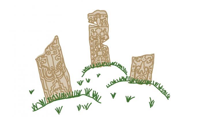 Dessin : Des khatchkars, les pierres à croix d'Arménie