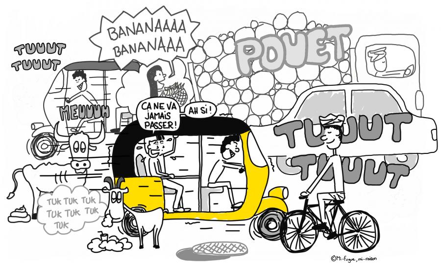 Dessin : À bord d'un rickshaw, le tuktuk indien !