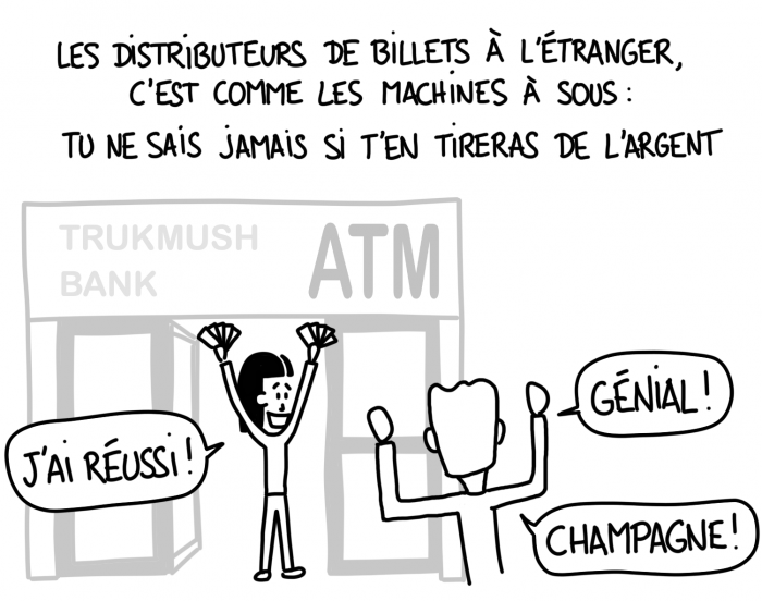 Dessin : les distributeurs à l'étranger, c'est comme les machines à sous