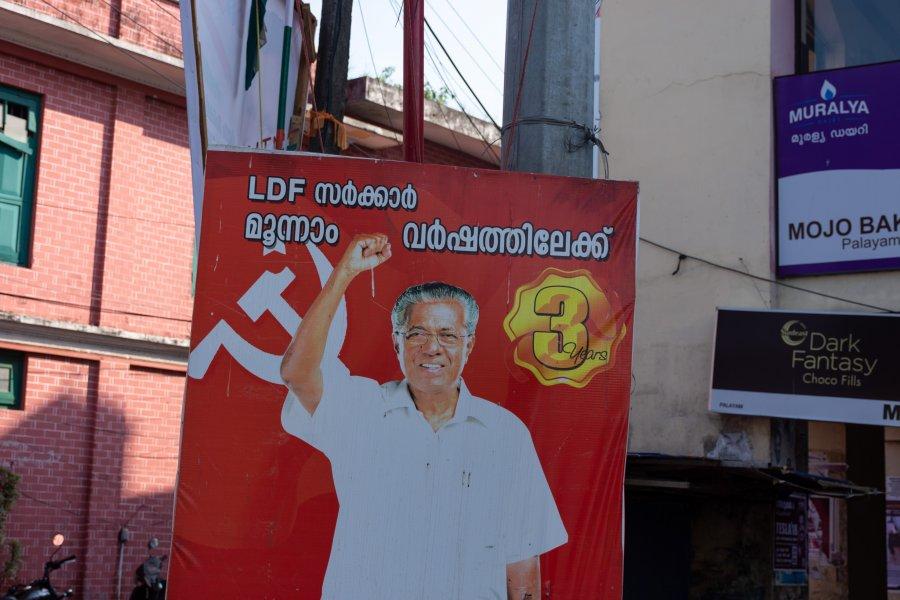 Affiche communiste au Kerala, Inde