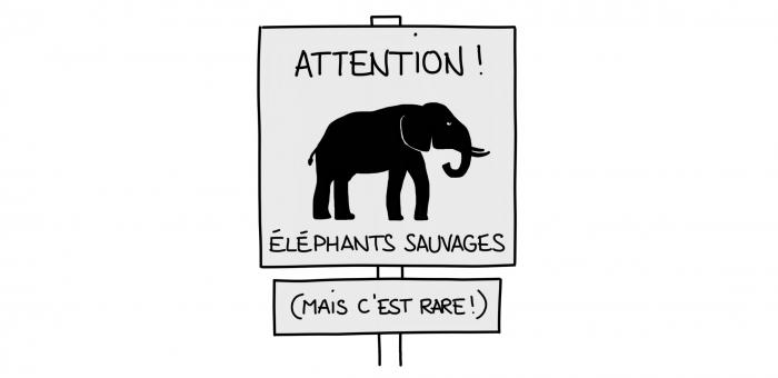 Dessin : panneau attention éléphants sauvages en Inde du Sud