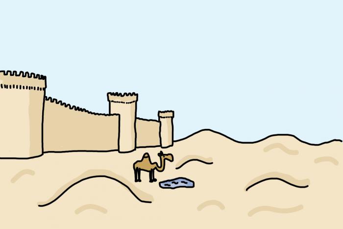 Ancien Bakou, avec ses remparts au bord du désert