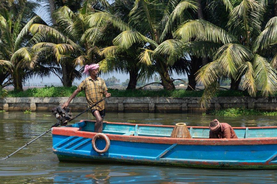 Bateau sur les backwaters, Alleppey, Kerala