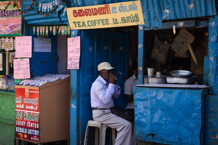 Boutique de chaï à Munnar, Kerala, Inde