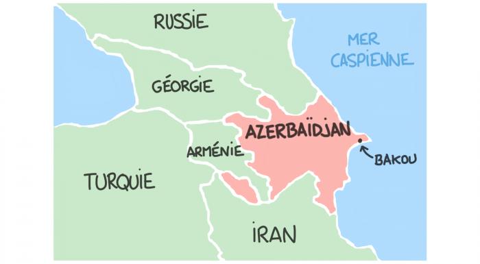Carte de l'Azerbaïdjan et du Caucase