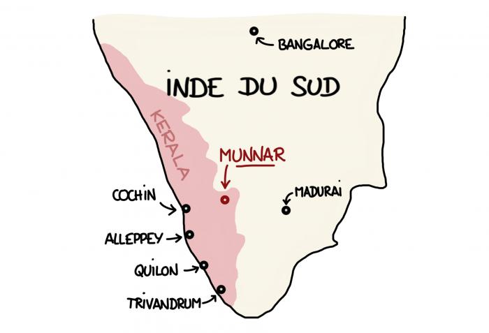 Carte de Munnar, Inde du Sud