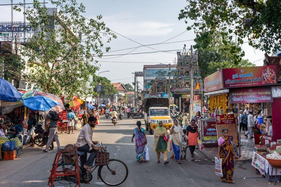 Centre-ville d'Alleppey, Kerala, Inde