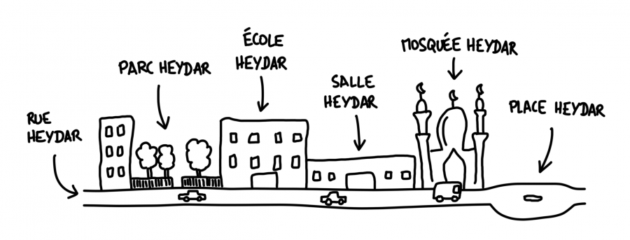 Dessin : Tout s'appelle Heydar en Azerbaïdjan, du nom de l'ancien président