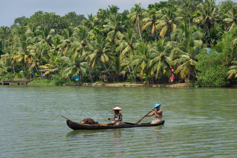 Pirogue sur les backwaters de l'île de Munroe, Kerala