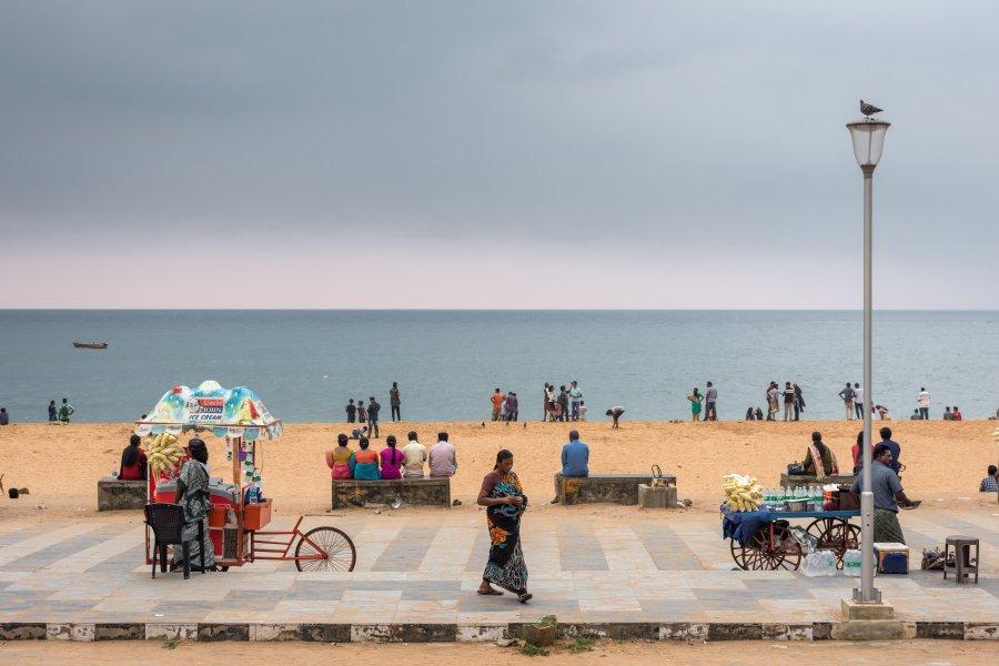 Plage de Shankumugham à Trivandrum, Inde