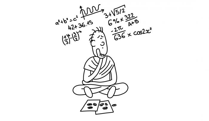 Dessin : le prêtre hindou jette les coquillages sur les horoscopes pour calculer le degré de concordance des tempéraments entre les époux potentiels