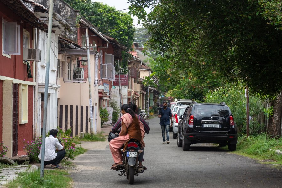 Rue de Fort Cochin au Kerala, Inde