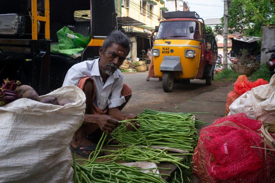 Vendeur de légumes à Cochin, Kerala, Inde du sud