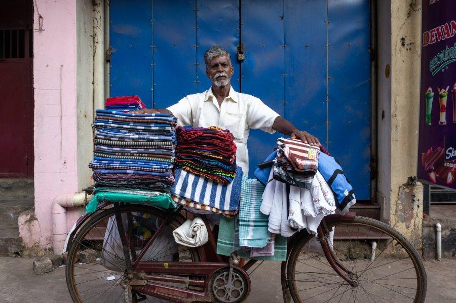 Vendeur à Trivandrum, Kerala, Inde