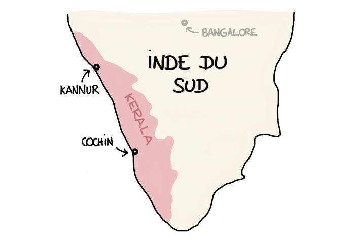 Dessin carte Cochin Kannur Inde du sud