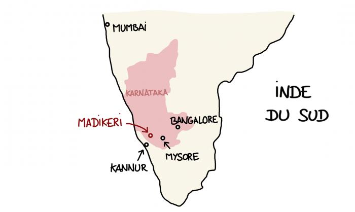 Carte de Madikeri, Karnataka, Inde