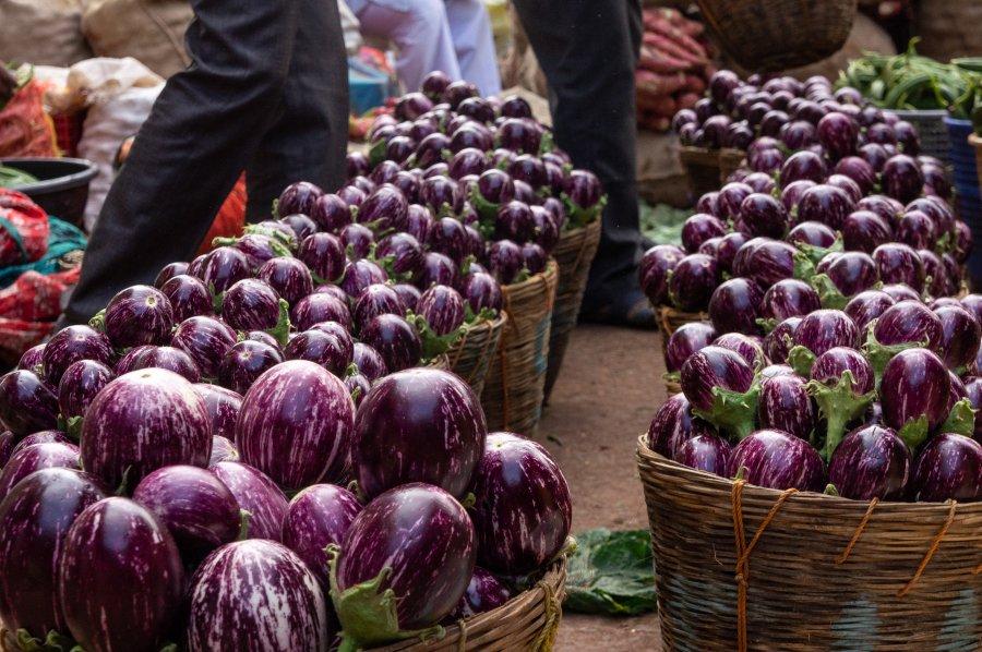 Aubergines au marché de Badami, Inde
