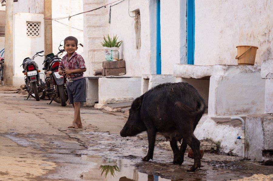 Village de Badami en Inde
