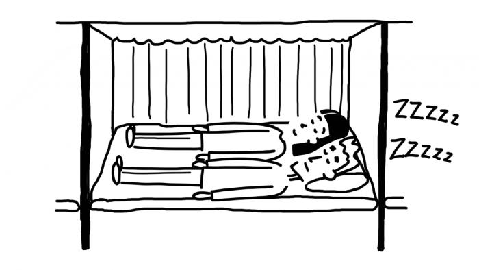 Dessin : dormir dans un bus couchette