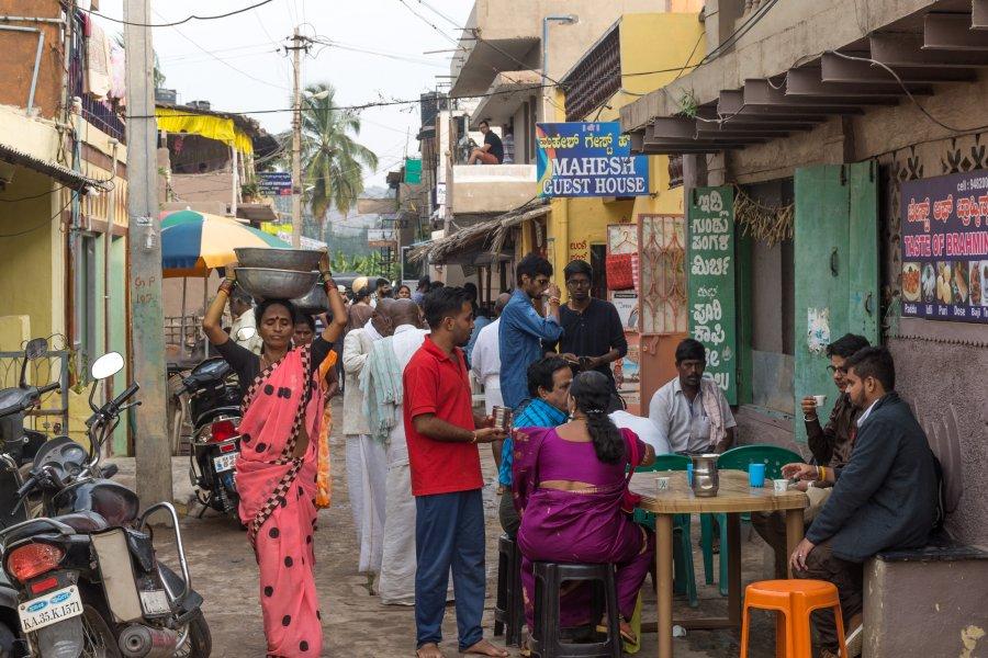 Rue à Hampi, Karnataka, Inde