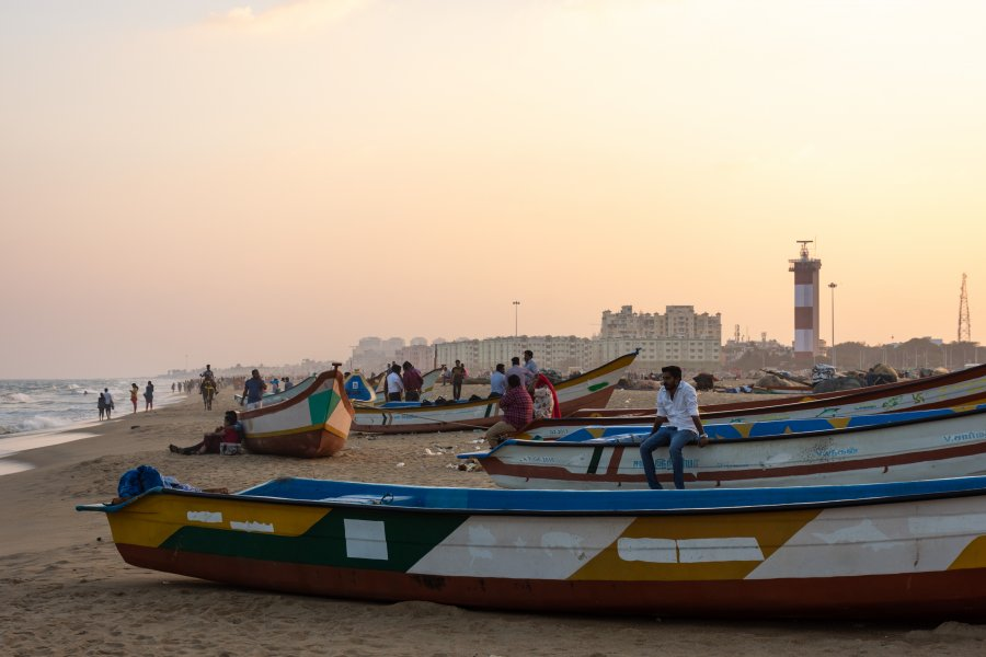Marina beach à Chennai, Tamil Nadu, Inde