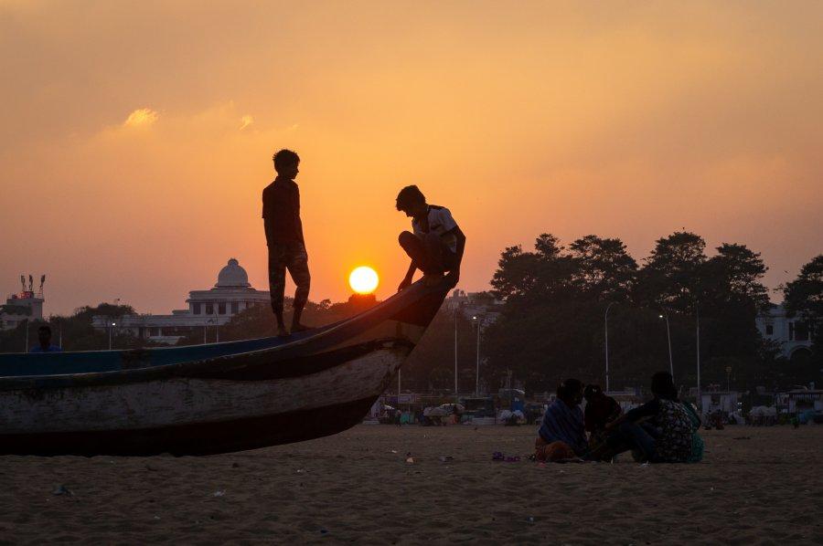 Coucher de soleil à Marina beach, Chennai