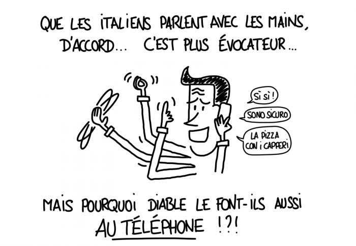 Dessin : les Italiens parlent avec les mains... même au téléphone !