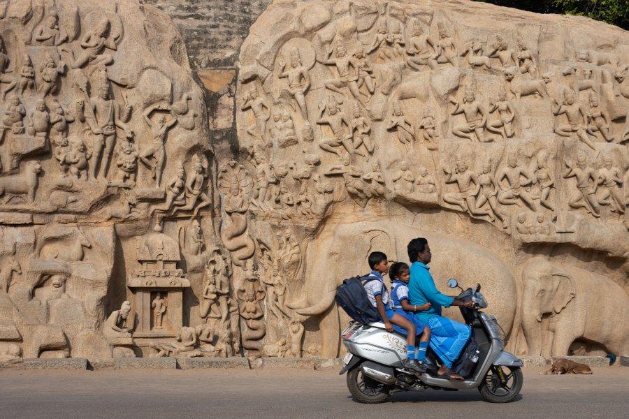 Bas-relief à Mahabalipuram, Inde
