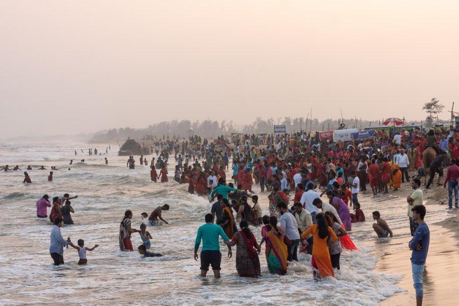 Pèlerins hindous à Mahabalipuram, Tamil Nadu