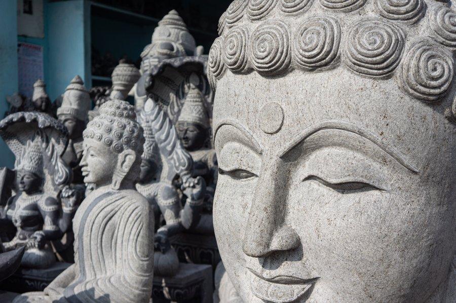 Sculptures à Mahabalipuram, Inde du sud