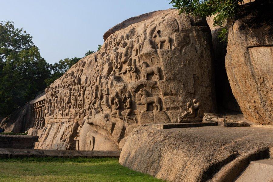 Bas-relief à Mamallapuram, Tamil Nadu