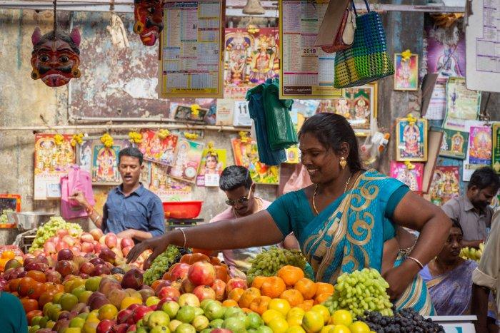 Marché Goubert à Pondichéry, Inde