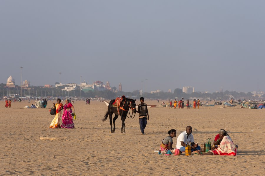 Plage de Marina, Chennai, Inde