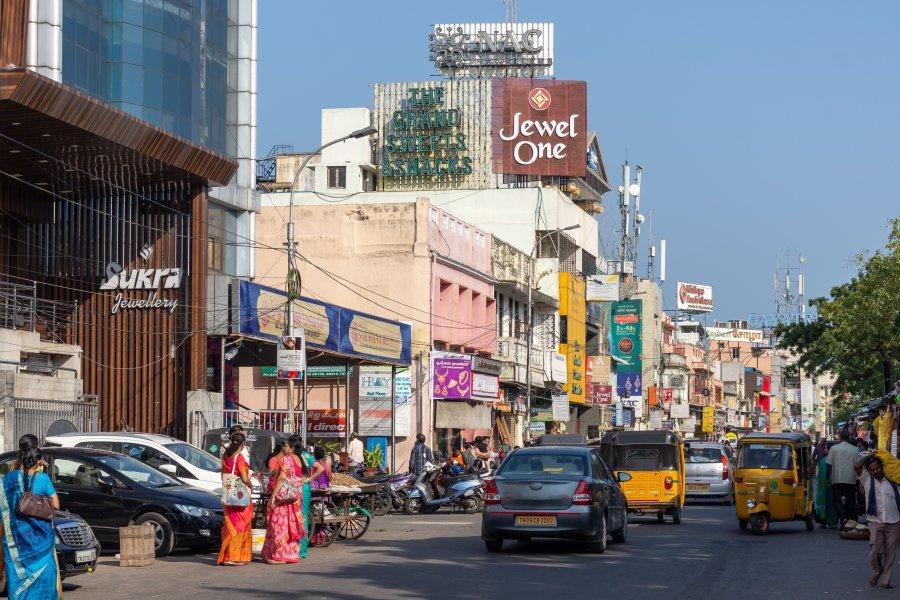 Rue à Chennai, Tamil Nadu, Inde