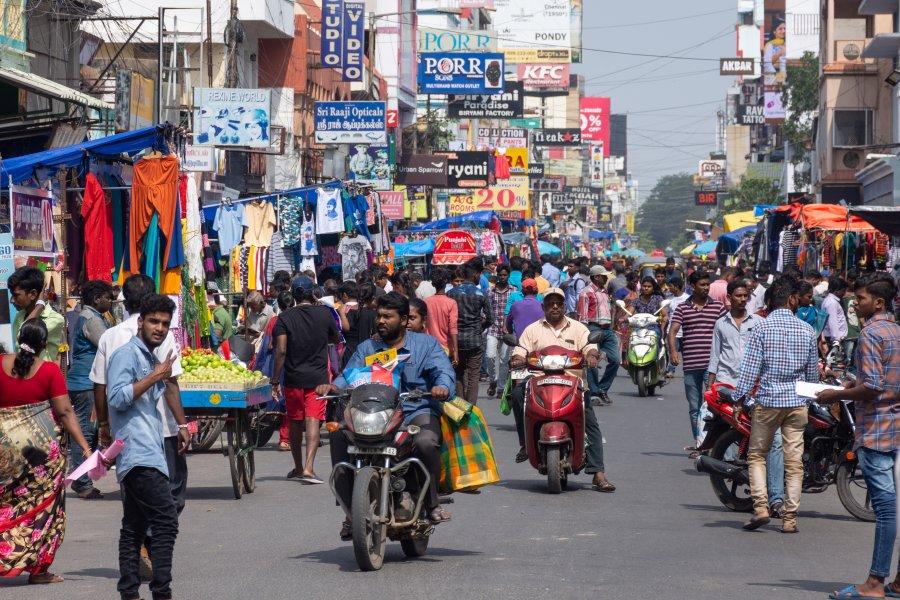 Sunday market à Pondicherry, Inde