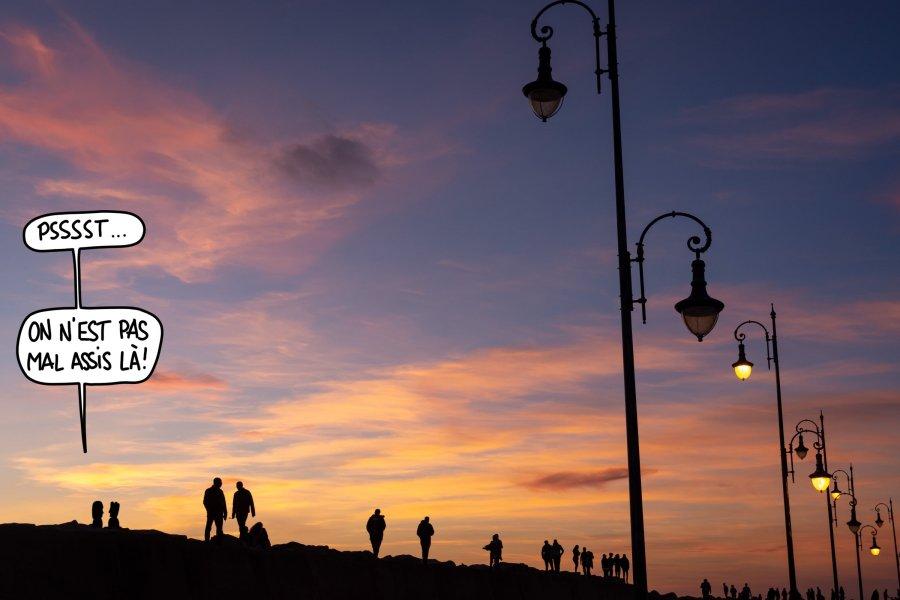 Coucher de soleil à Asilah au Maroc, on n'est pas mal assis là