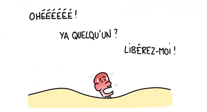 Dessin : bain de sable dans le désert marocain