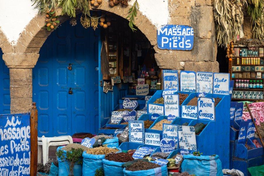 Boutique aux herbes magiques à Essaouira