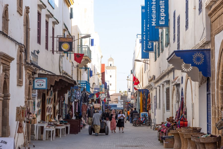 Rue touristique d'Essaouira, Maroc
